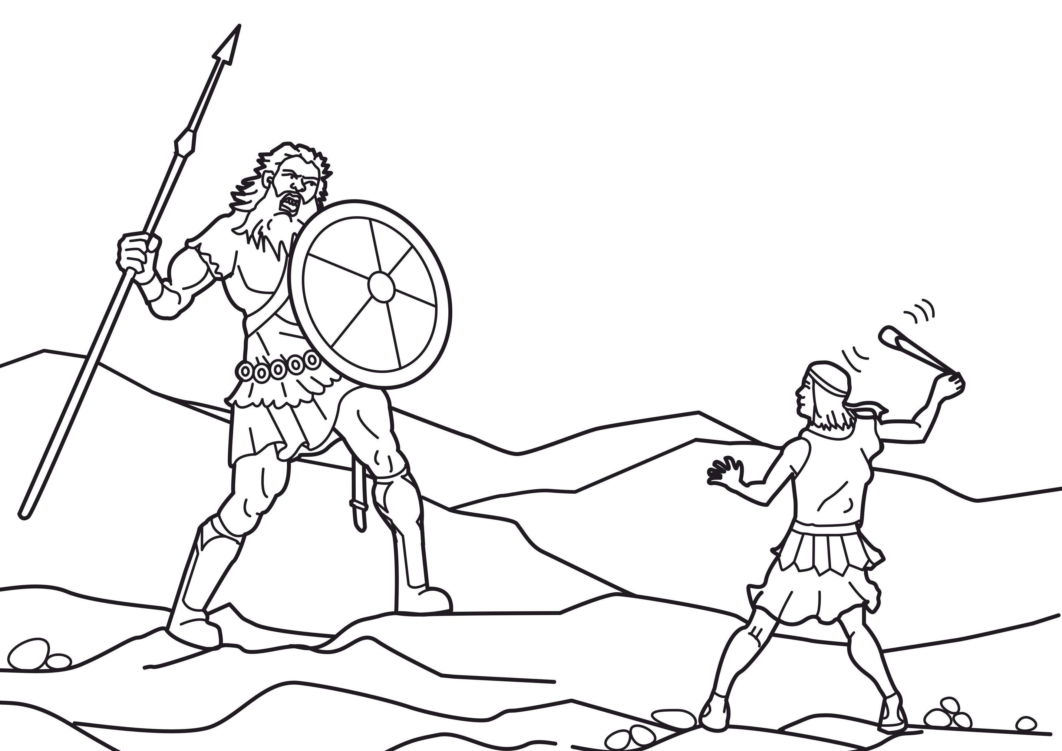 Image: Coloring: David and Goliath <br> صورة تلوبن لداود الصبى يصرع ...