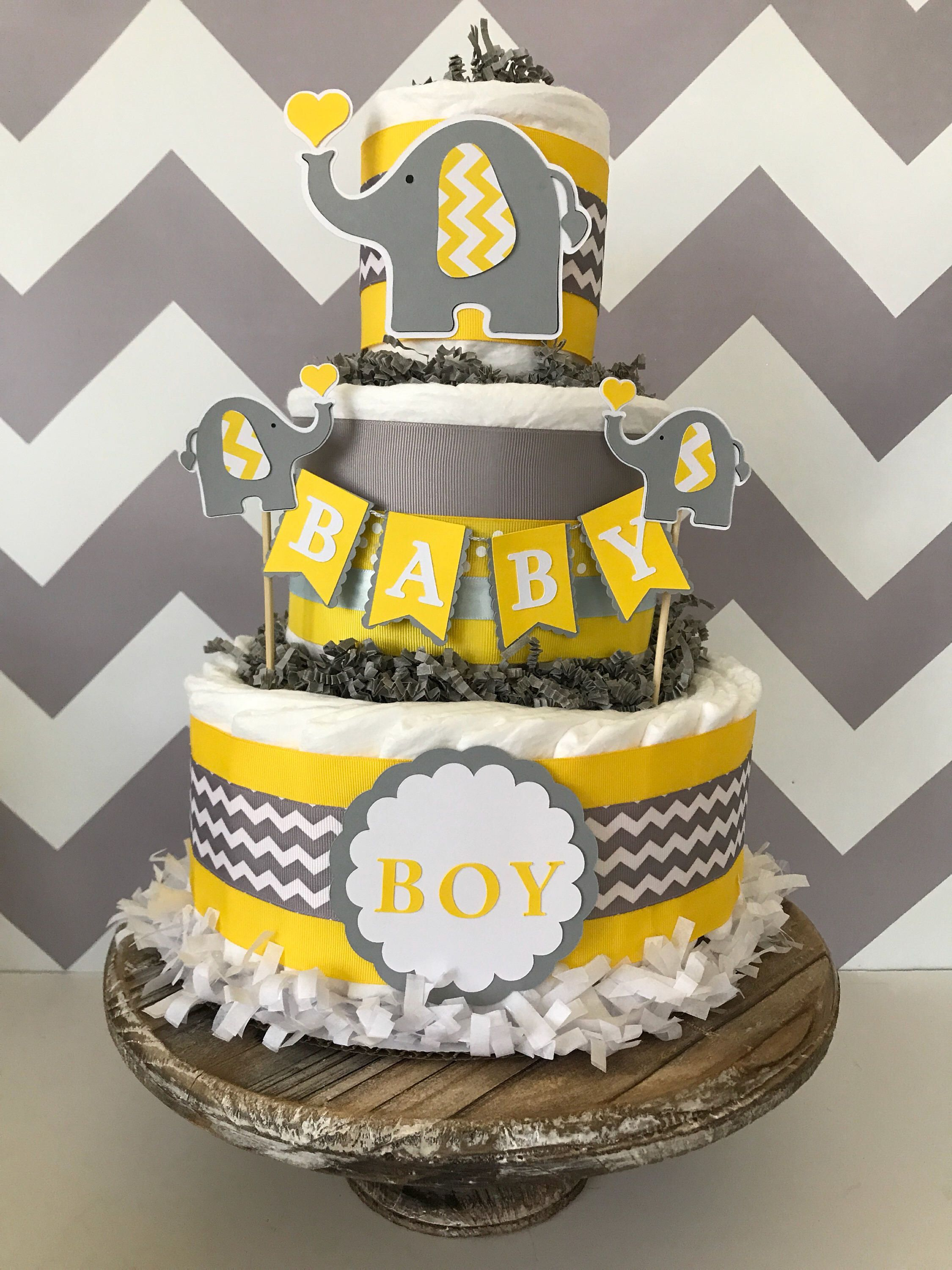 Exceptional Elephant Diaper Cake In Yellow, Gray And White, Elephant Baby Shower  Centerpiece, Elephant