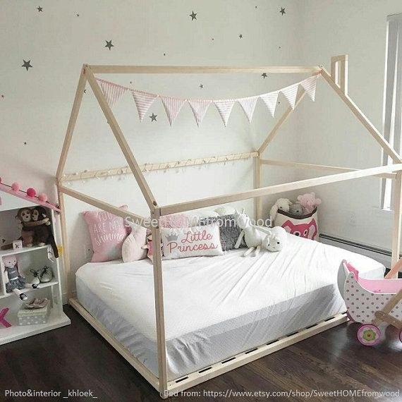 Wood bed CRIB size, house bed frame, bed house, wood bed, baby bed ...