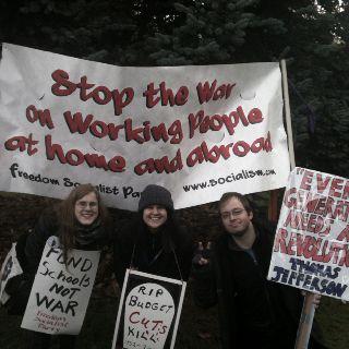 Protesting budget cuts at WA state capitol.