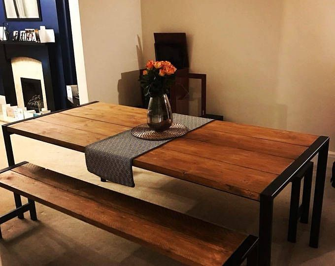 Handmade Dining Set  Steel & Timber Table With Benches Cool Handmade Dining Room Tables Decorating Inspiration