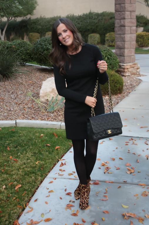 Black Jacquard Dress Black Opaque Tights Leopard Booties Black