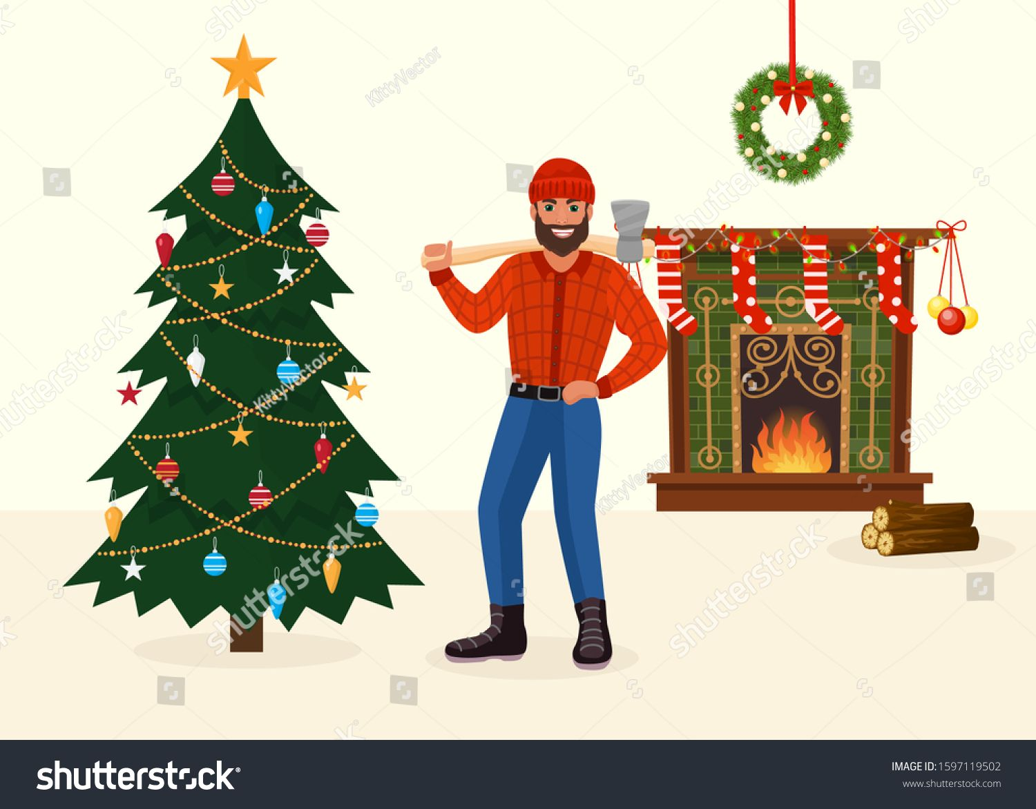Felled Christmas Tree And Man Holding Ax In New Year Decorated Room Vector Illustration Celebrating Holiday At Home With Xm In 2020 Christmas Tree Xmas Tree Christmas