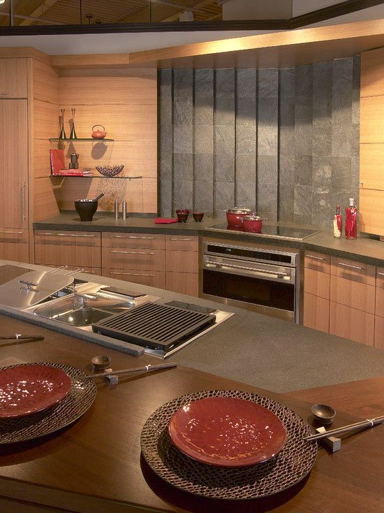 Kitchen counter with built in griddle deep fryer steamer for Zen style kitchen designs