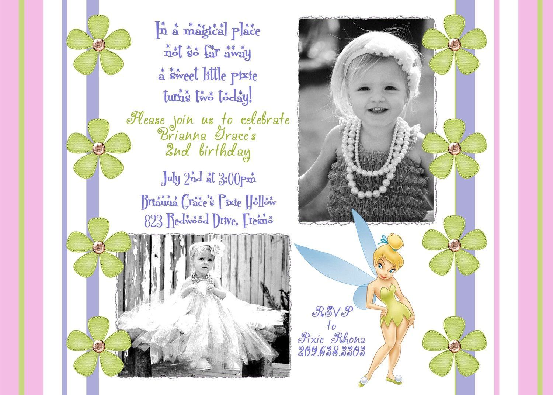 Tinkerbell Birthday Photo Invitation By Darlingdesignsbysara 17 99