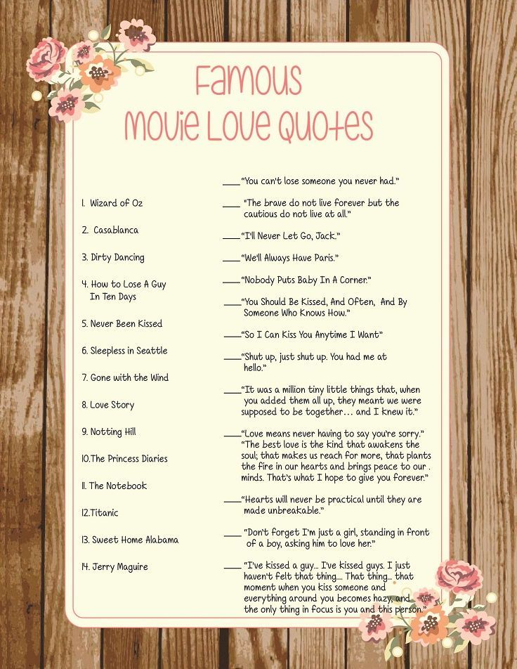 Movie Love Quotes Game, Wedding Shower Game, Bridal Shower Game ...