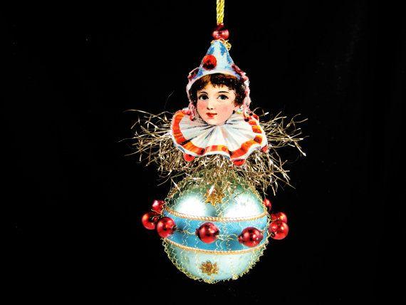 Victorian+Christmas+Ornament++Jolly+Clown+by+SilverOwlStudio,+$165.00