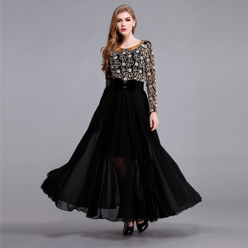 2014 summer vintage Lace chiffon maxi dress with free bow ...