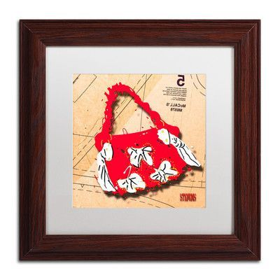 "Trademark Art 'Bow Purse White on Red' by Roderick Stevens Framed Graphic Art Size: 11"" H x 11"" W"