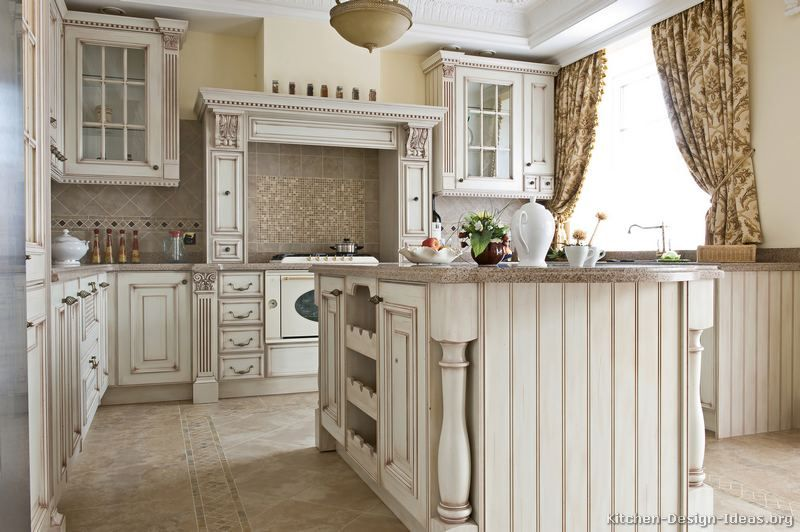 white antiqued kitchen cabinets | Roselawnlutheran