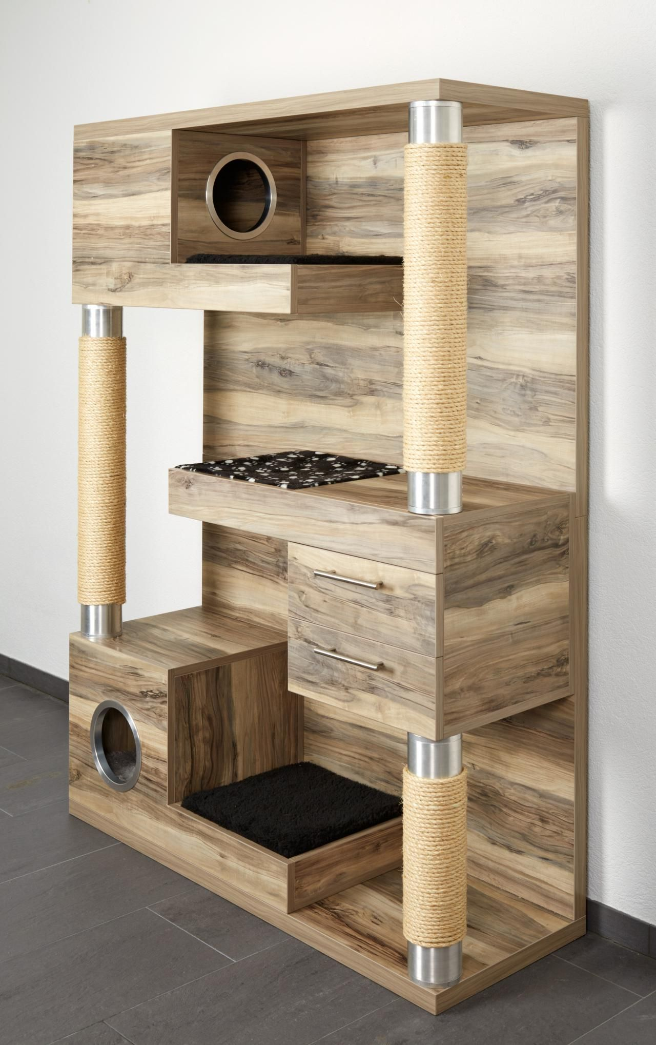 Now This Is A Cat Tree The Catframe Combines Contemporary Wood Sisal Rope Scratching Posts Cubby Holes Soft Pads For Kneading And Sleeping