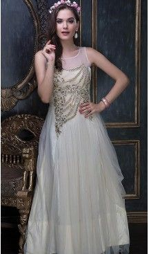 bbfadf43895 Off White Color Net Designer Party Wear Gowns