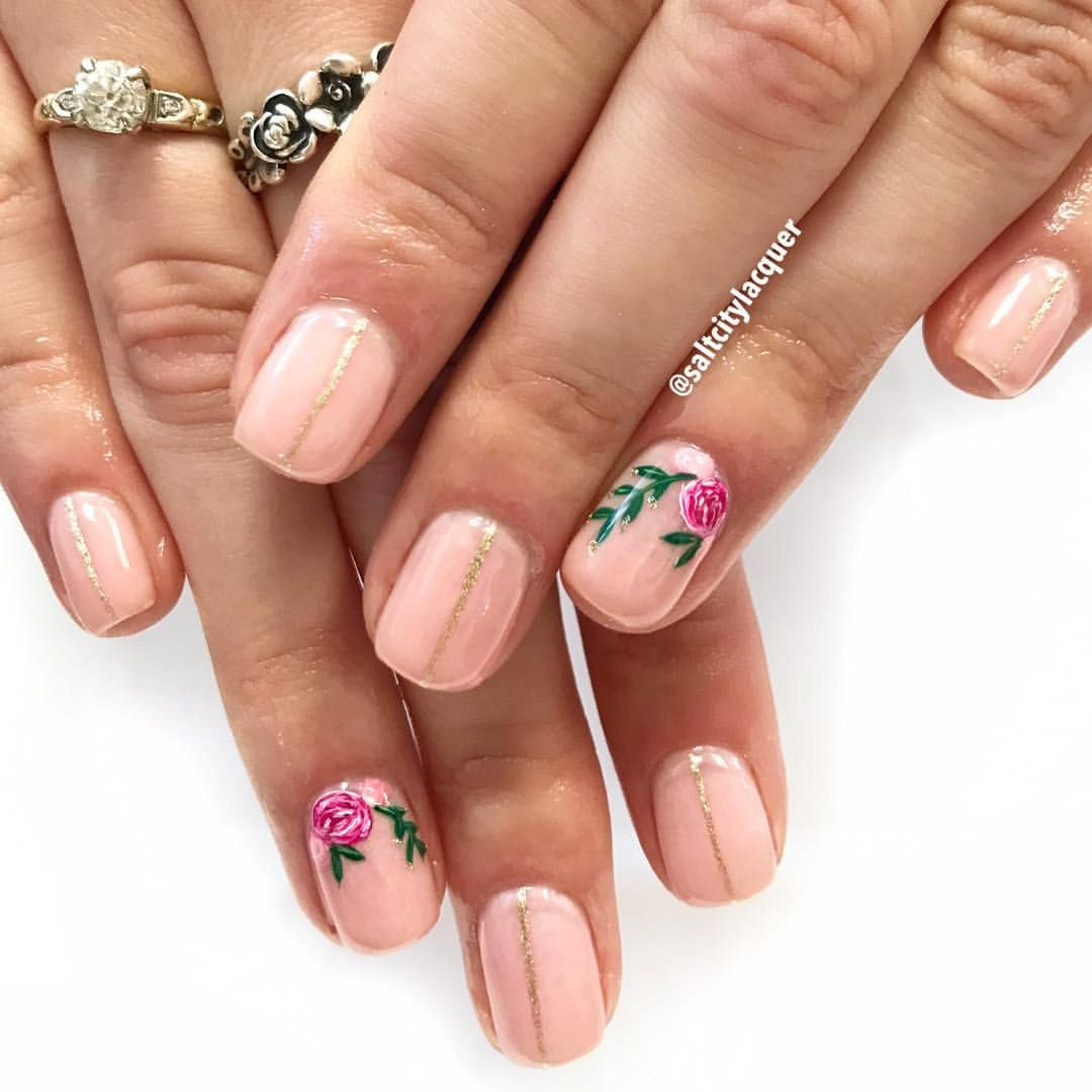 Pretty Little Flowers Gel Polish On Natural Nails Gelpolish Pinknails Nailart Naildesigns Natural Nails Nails Pink Nails