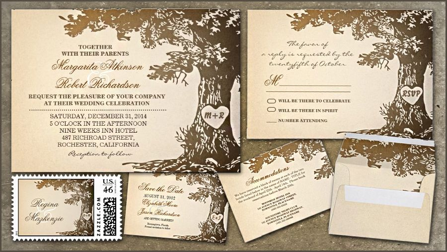 BROWN TREE WEDDING INVITATION SUIT with RSVP, Accommodations cards, Save the date and postage stamps with envelopes.
