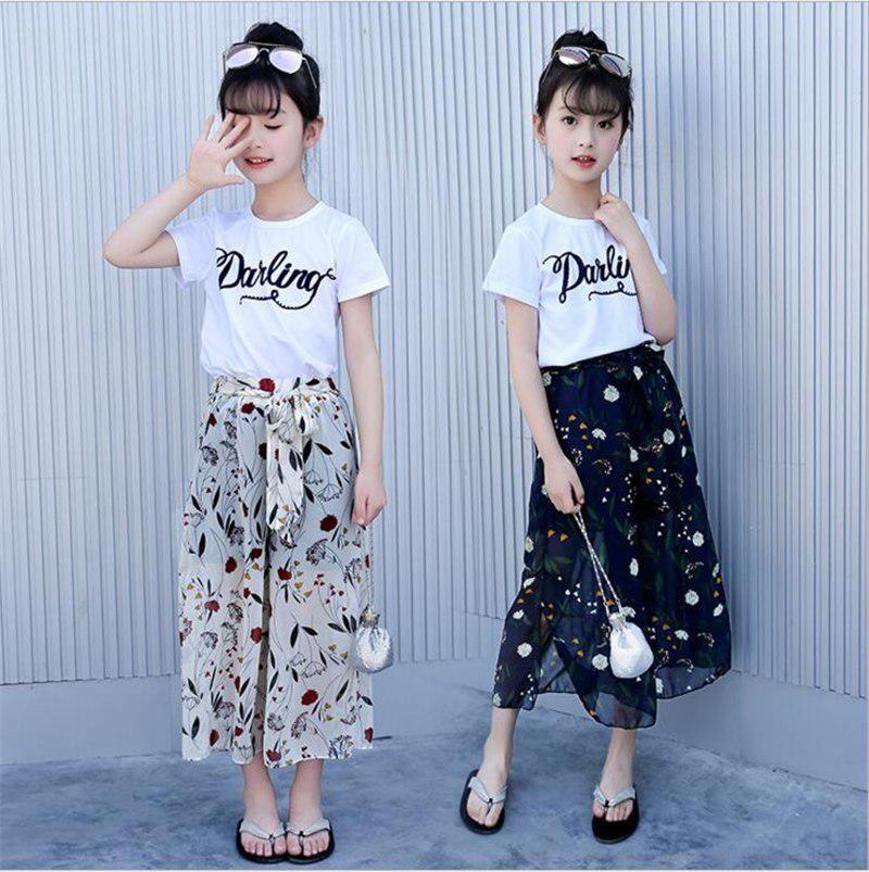 de3b5f6a395 Summer Girls Clothing Sets Baby Toddler Kids Girl Clothes Sleeveless Cotton  T Shirt + Chiffon Print