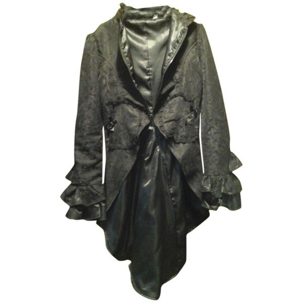 Pre-owned Gothic Steam Punk Punk Dress Dress Breath Taking Fashion... ($141) ❤ liked on Polyvore featuring outerwear, coats, black, ruffle coat, goth coat, gothic coat, black ruffle coat and steampunk coat