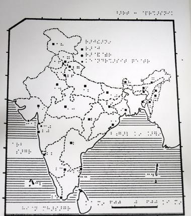 The Braille version of the administrative map of India produced by