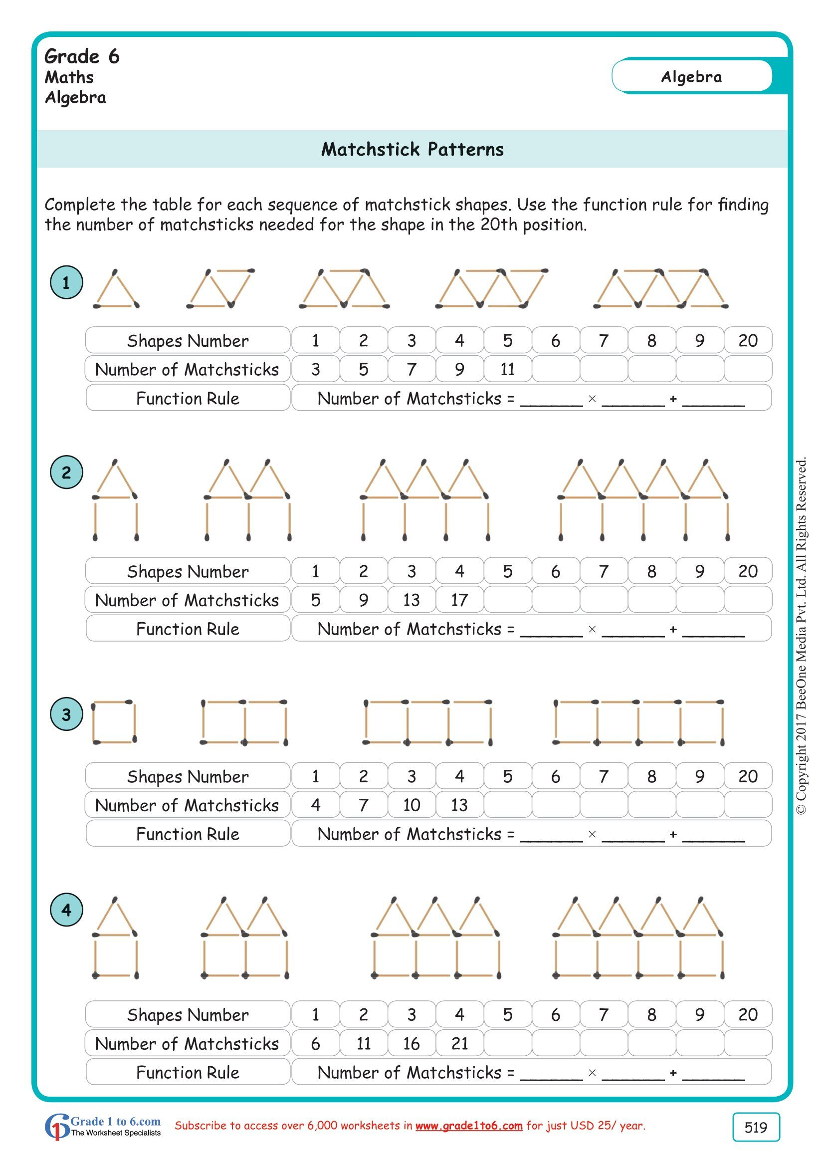 Grade 6  Class Six Matchstick Patterns Worksheets  www.grade1to6.com    Pattern worksheet [ 2339 x 1654 Pixel ]