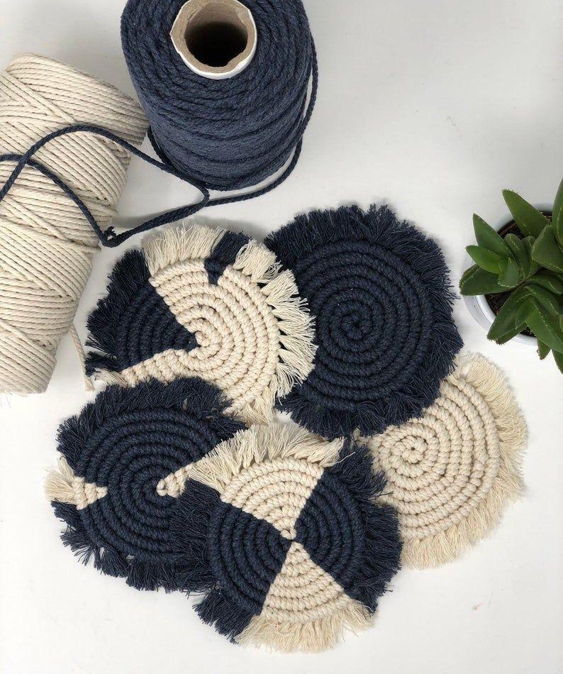 Recycled Cotton Boho Interior Plant Mat Handmade Bohemian House Rustic style Gift Macrame Coasters Chunky Decor Macrame