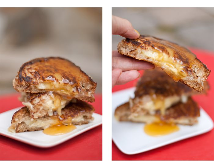 Double creme brie and havarti grilled cheese, drizzled in honey apple butter