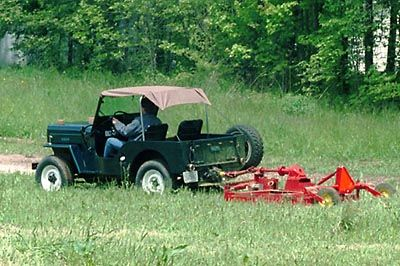 Mowing With A Jeep On The Cj3b Page Jeep Antique Cars Vehicles