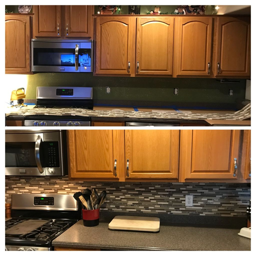 Added backsplash from Houzz.com. Oak cabinets with black ...