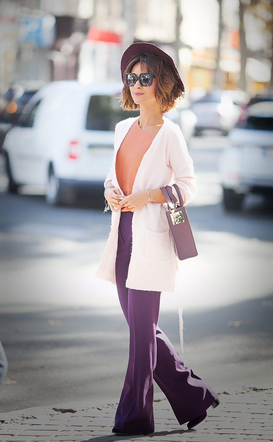 pink cardigan, color mix outfit,