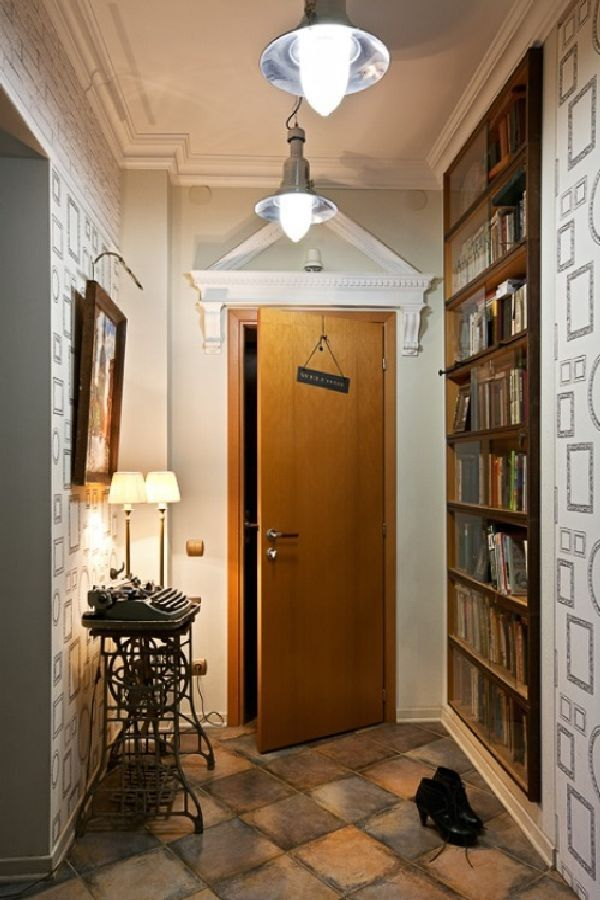 Entry Door Wall Interior in Very Cool Small Apartment of 70 Square Meters  Design Ideas