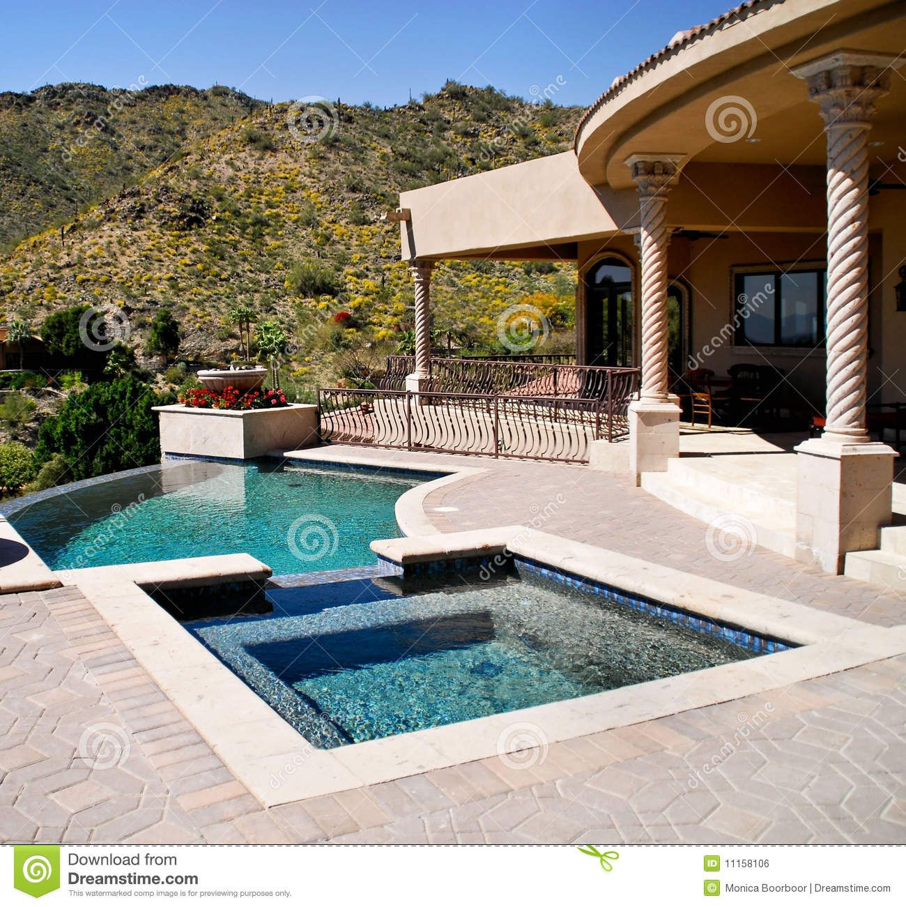 backyad patio | Backyard patio with pool and spa southwest ...