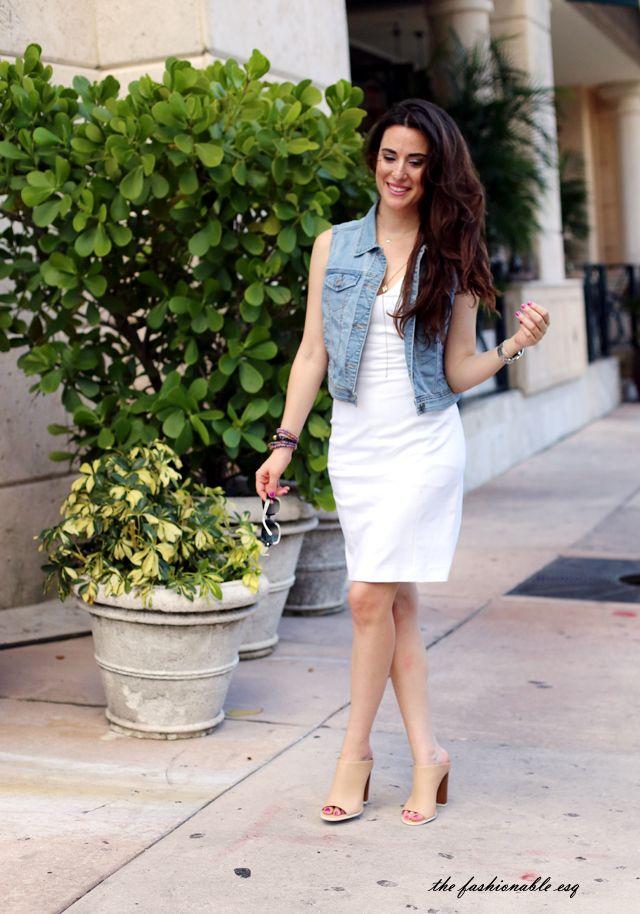 white dress and denim vest