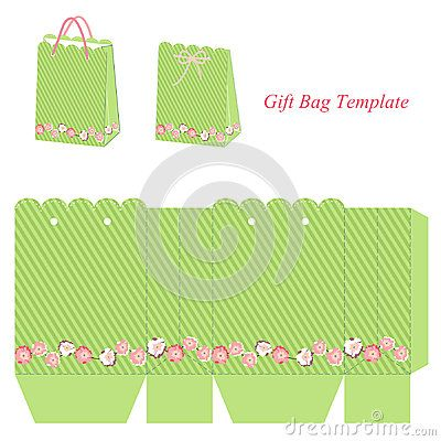 Green gift bag template with stripes and flowers   Template ...