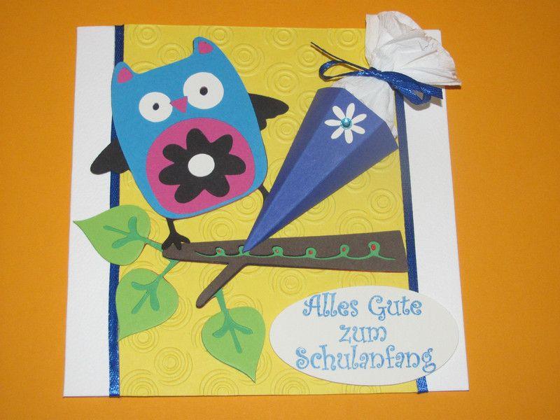 Glückwunschkarten - Glückwunschkarte zur Einschulung Eule m. Schultüte - ein Designerstück von Wonderful-Paper-Art bei DaWanda