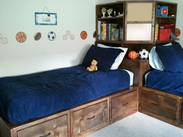 Boy Bedroom Storage: How To Build Twin Corner Beds With Storage