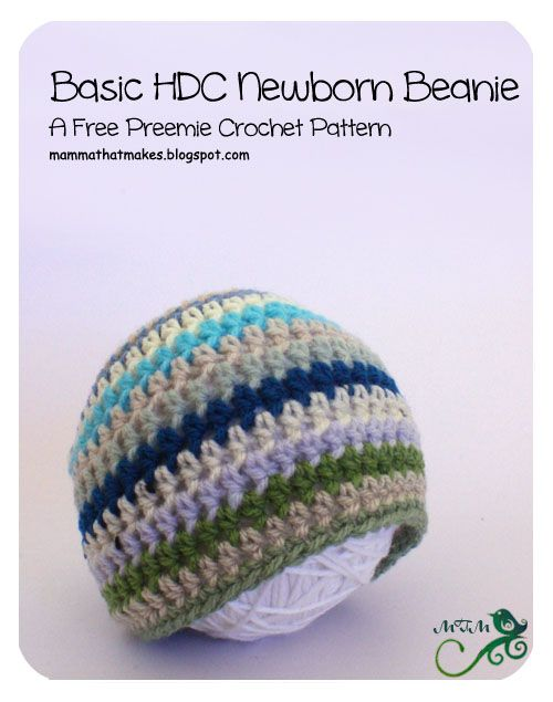 Mamma That Makes: 7. Basic Newborn HDC Beanie | Crochet for Babies ...