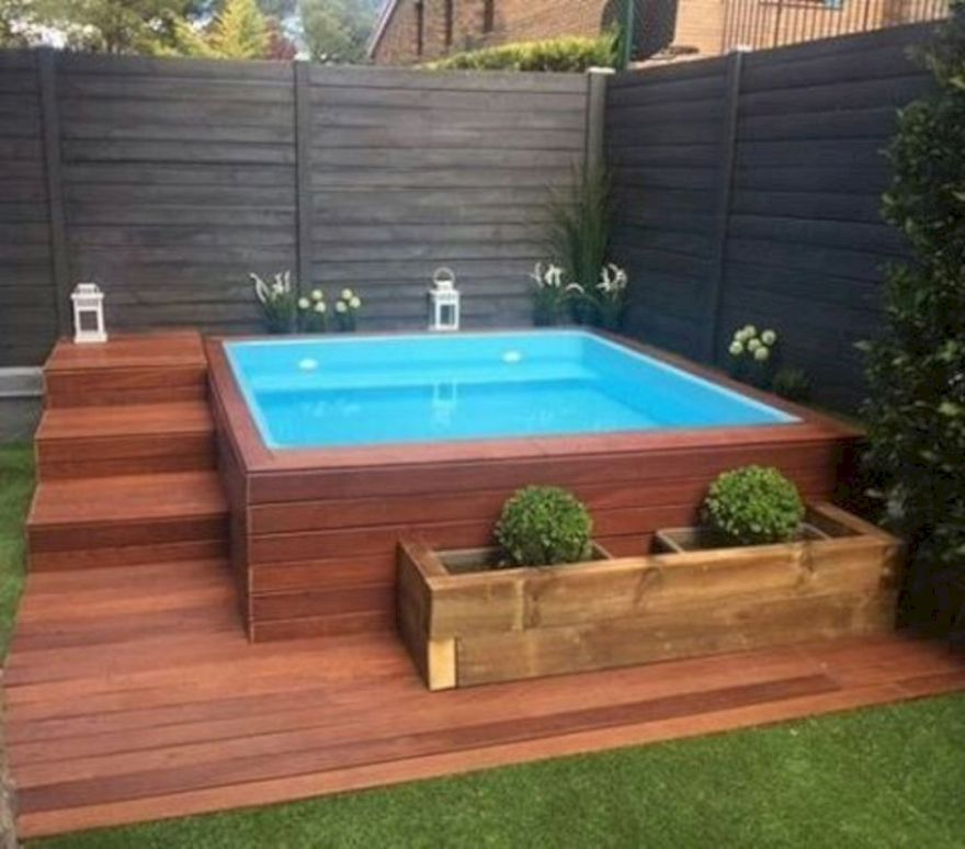 45 Incredible Wooden Deck Design Ideas For Outdoor Swimming Pool 0445 Hot Tub Backyard Small Pool Design Small Backyard Pools