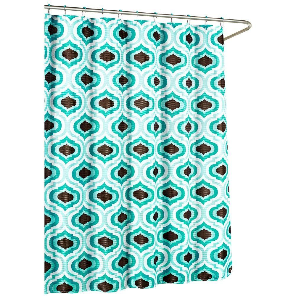 Creative Home Ideas Faux Linen Textured 70 in. W x 72 in. L Shower Curtain with Metal Roller Rings in Letto Turquoise/Espresso (Letto Turquoise/Brown)
