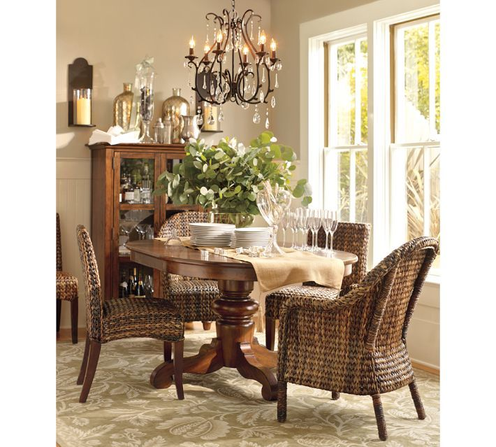 Celeste Crystal Chandelier Pedestal Dining Table Seagrass Dining Chairs Home