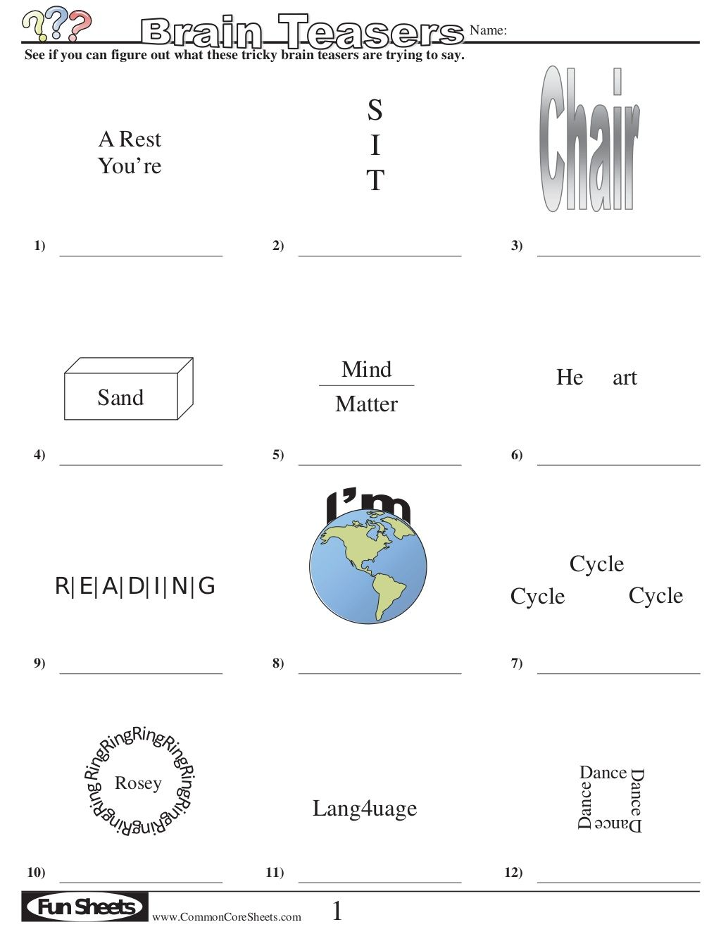 Brain Teasers Puzzles Packet With Answers By The Math