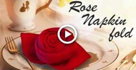 Rose napkin fold - DIY #diynapkinfolding Rose napkin fold - DIY #diy,  #DIY #diynapkinfolding... #diynapkinfolding