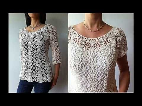 14849a504 CROCHET TOP DOWN BLOUSE SWEATER tutorial all sizes also as winter sweater  with long sleeves - YouTube