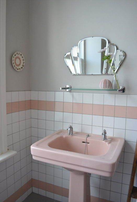 Pink Pedestal Sink In Retro Bathroom Decor And