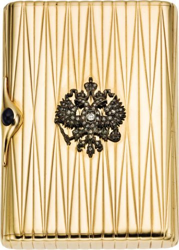 Russian Gold and Diamond Imperial Presentation Cigarette Case.Marked Carl Blank, St. Petersburg, 1908-17