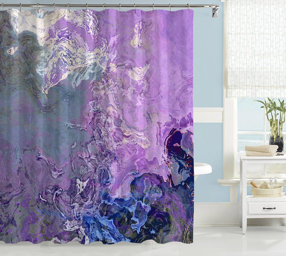 Abstract Shower Curtain Lavender Blue White Purple Blue Green