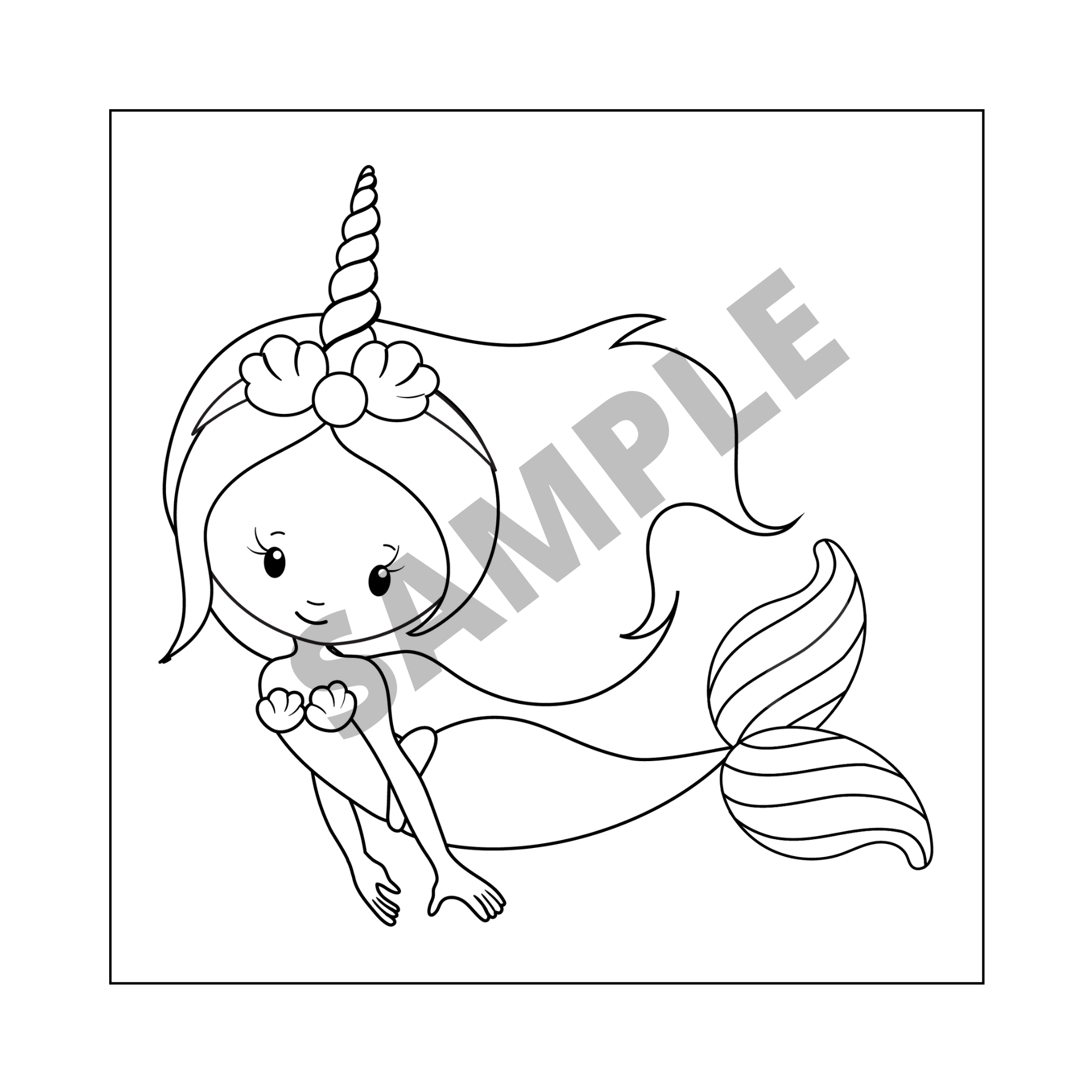 Sea Coloring Pages For Kids Unicorns Mermaids And Other Etsy Mermaid Coloring Pages Coloring Pages Animal Coloring Pages [ 2000 x 2000 Pixel ]