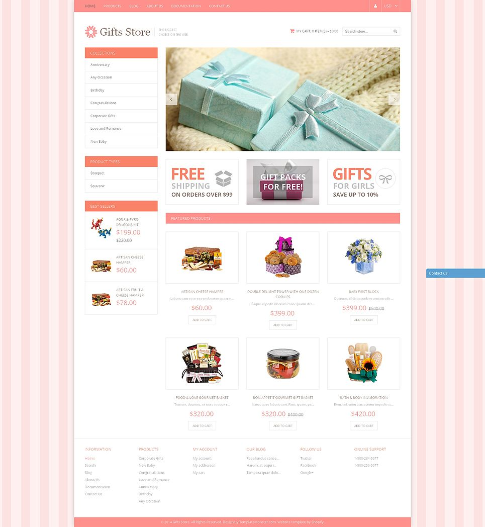 Gifts Store Responsive Shopify Theme 49590 Gift store