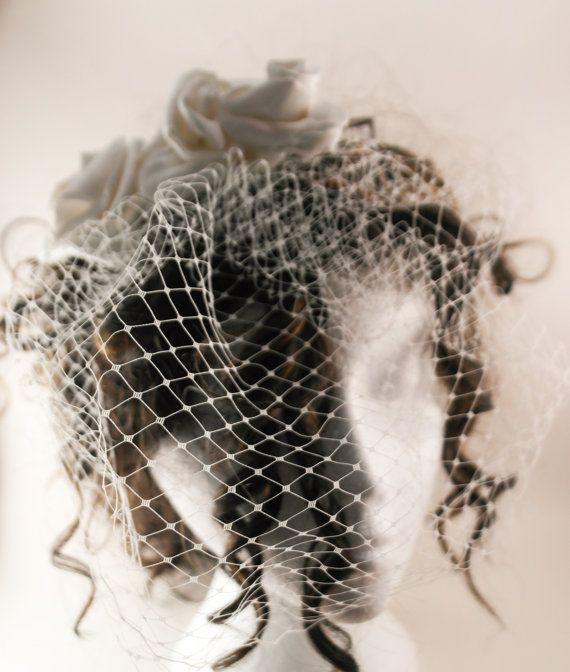Ivory birdcage veil in netting ivory flower by AnitaHiltonweddings, £22.00