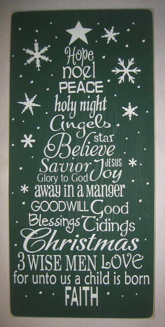 Christmas Word Art Tree Wall Decor You Pick By Cottagesignshoppe Weihnachtszeit Gemutliche Weihnachten Weihnachten
