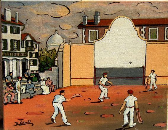 Pelote basque fronton st jean de luz peintures pays - Peinture bayonne ...
