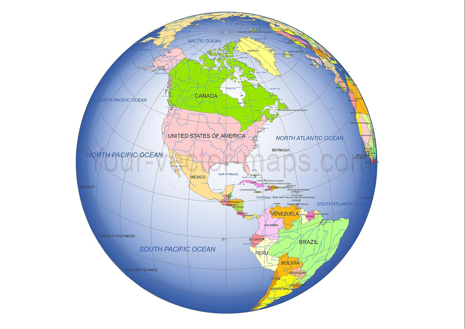 NorthAmerica and middle America centered Globe vector map Globe