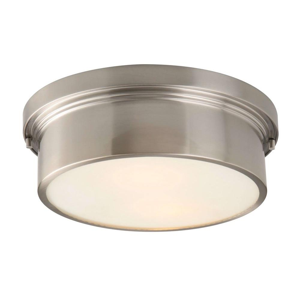 Spray Paint This Color Or Gold Hampton Bay Oxnard 2 Light Ceiling Brushed Nickel Flush Mount Modern Flush Mount Lighting Ceiling Lights Flush Mount Lighting